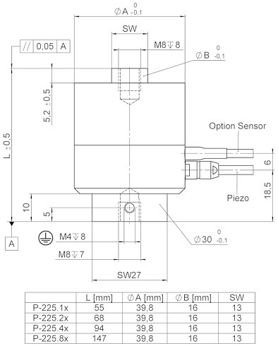 P-225, dimensions in mm