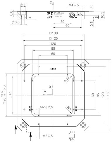 P-541.Z / P-541.T, dimensions in mm