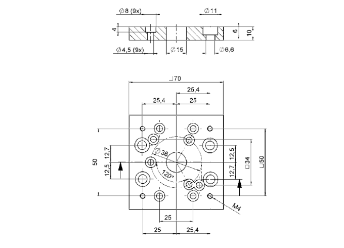 PI M-060.HP Adapter Plate Drawing