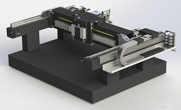 Engineered subsystem with integrated linear motor axes for fast precision XY scanning, here for automated wafer inspection. Fine positioning in the vertical axis is done by a linear motor stage with integrated weight counterbalance